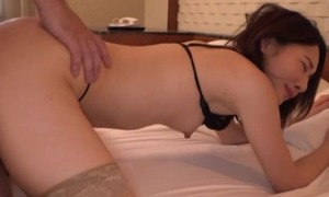 Asian doll steppe lingerie fills her slutty frowardness respecting cum